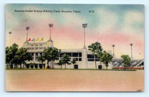 Postcard TX Houston Public School Athletic Field Vintage Linen J2
