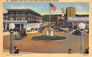Broadway From Trail's End Turn-A-Round, Seaside, Oregon, Early Postcard, Unused