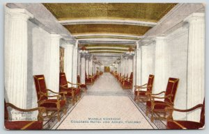 Chicago Illinois~Congress Hotel & Annex~Marble Corridor Peacock Alley~c1910