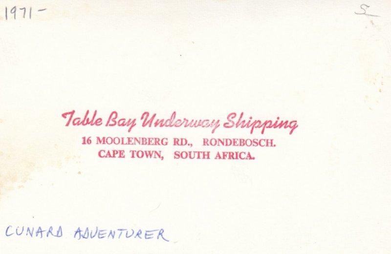 RP: Ocean Liner CUNARD ADVENTURER , Cape Town , South Africa , 1971