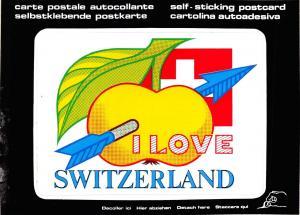 Postcard I Love Switzerland, Self Sticking Postcard..Large Letter Card #570