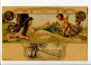 262045 ART NOUVEAU Months JULI July by HEGEDUS GEIGER vintage