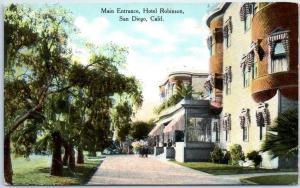 San Diego, California Postcard Main Entrance, HOTEL ROBINSON c1910s Unused