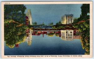 SHARON Pennsylvania PA   Night Scene SHENANGO RIVER  National Bank 1957 Postcard