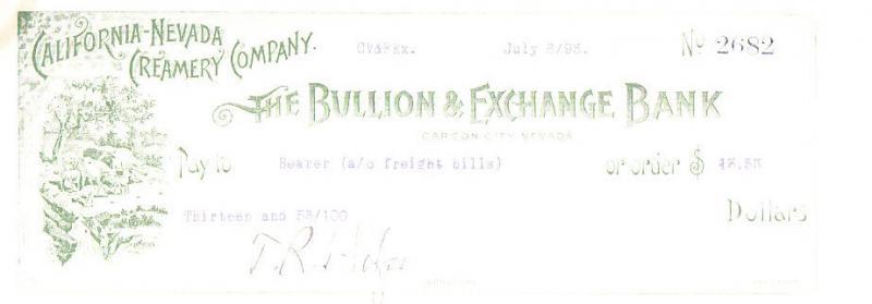 Nevada California-Nevada Creamery Used Check 1893