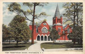 B58/ Spartanburg South Carolina SC Postcard c1910 First Presbyterian Church 2