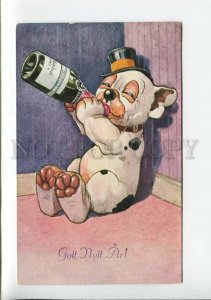 3177539 NEW YEAR Dressed DRUNK Dog BONZO Vintage PC