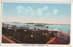 P1029 old card evangeline wharf and harbor ships ,Yarmouth,_Nova_Scotia