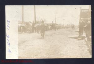 RPPC DE SOTO MISSOURI DOWNTOWN STREET SCENE OLD CARS 1908 REAL PHOTO POSTCARD