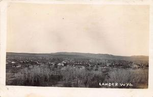Lander WY Aerial View of The Town by Anderson & Nelson in 1914 RP Postcard