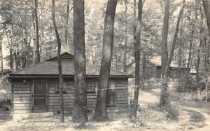 Angola Indiana~ Potawatomi Inn~Our Cabin Thru The Roped Trees~RPPC 1940s PC