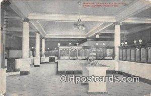 Interior, Farmers & Merchants Bank Benton Harbor, Mich, USA 1913 Missing Stamp