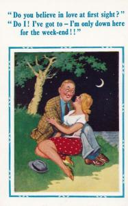 Love At First Sight In Moonlight Hurry & Make Love To Me Comic Humour Postcard