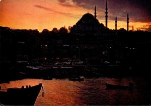 Turkey Istanbul Night View Across The Golden Horn 1968
