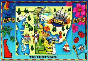 Postcard of Delaware State and Highway Map