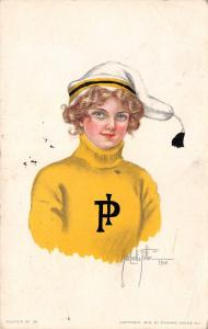 Alice Luella Fidler~College Girl~PI Sweater~Pittsburgh Colors Yellow & Gold~1910