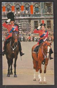 UK Queen Elizabeth II and Prince Philip on horseback