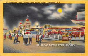 Wildwood, New Jersey, NJ, USA Postcard Moonlight View Funhouse and Roller Coa...