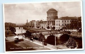 *1930s Four Courts and River Liffey Dublin Ireland Vintage Photo Postcard C84