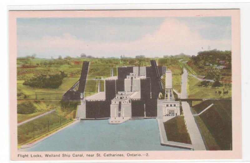 Flight Locks Welland Ship Canal St Catherine's Ontario Canada postcard