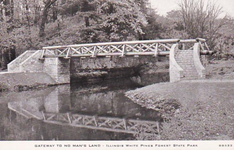 Illinois White Pines Forest State Park Rustic Bridge 1954