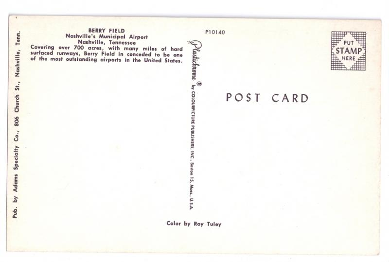 Berry Field Nashville Municipal Airport Vintage Aviation Postcard Aircraft