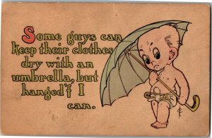 Baby with Umbrella, Diaper Safety Pin Frederic Cavally Vintage Postcard A29