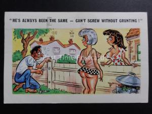 Bob: Comic PC Two Women at Garden Fence HE CANT SCREW WITHOUT GRUNTING 1970's