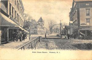 Westerly RI Dixon House Square Dirt Street View Postcard