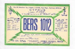 Radio card, BERS 1012, CYPRUS, 1950s