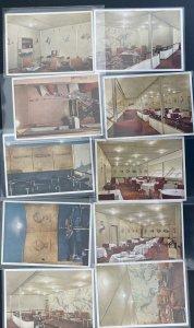 10 Postcards Complete Set Lot Germany Hindenburg LZ 129 Zeppelin Interior