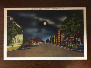 Night-Time Scene, Broad Street, Statesville, North Carolina NC D10