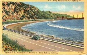 California Oil Wells In The Pacific Along U S Highway 101 Between Ventura and...