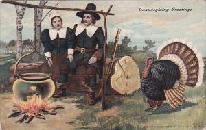 Thanksgiving Turkey and Pilgrims 1908