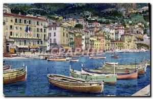 Old Postcard Villefranche Sur Mer Port Boat