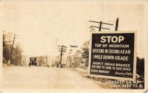 GARRETT CO, MARYLAND TOP OF NEGRO MTN-NATIONAL HWY RPPC REAL PHOTO POSTCARD
