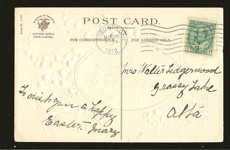 Postmarked 1912 Toronto Ontario Embossed Easter Postcard
