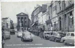 Market Jew Street and Town Hall, Penzance, England, postcard, used in 1962