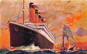 White Star Line Ship Postcard Old Vintage Steamer Antique Post Card Post Date...