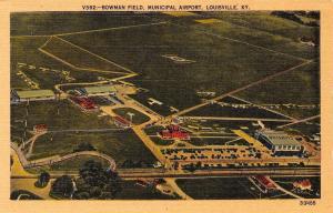 Louisville Kentucky~Birdseye Bowman Field~Municipal Airport~1950s Linen Postcard