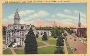 Oregon Salem Marion County Court House Post Office and State Capitol Curteich
