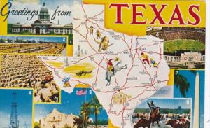 Greetings From Texas With Map