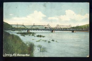 Corning, New York/NY Postcard, Chemung River & Bridge