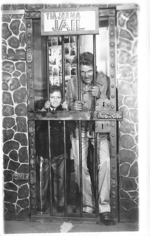 Tia Juana MX BN~Father & Son in Mexican Jail~Famous Movie Stars Pics~RPPC 1940s