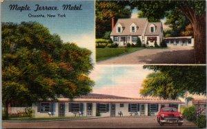 Maple Terrace Hotel Motel Oneonta NY Howe Caverns Coopers town vtg Postcard