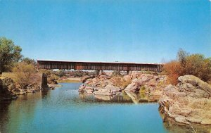 KNIGHTS FERRY BRIDGE Covered Bridge Stanislaus River, CA c1960s Vintage Postcard