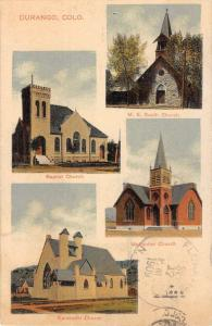 Durango Colorado Church Multiview Antique Postcard K104054
