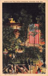 WISCONSIN DELLS WI STAND ROCK INDIAN CEREMONIAL SALUTE TO THE FLAG POSTCARD