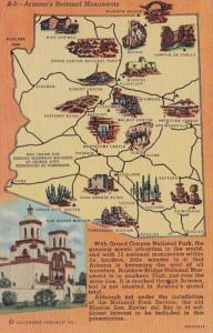 Arizona Map Showing National Monuments Curteich
