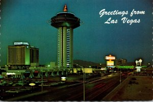 Nevada Las Vegas Greetings Showing The Hilton and Landmark Hotels At Night